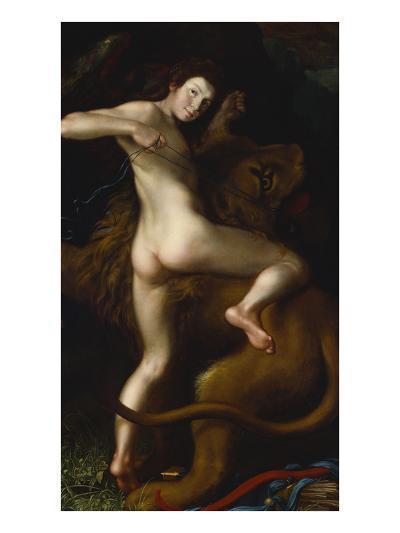 Cupid Taming a Lion-Bartholomaus Spranger (Follower of)-Premium Giclee Print
