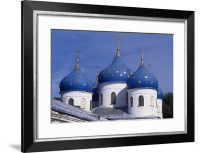 Cupolas of St George's Cathedral in Yuriev Monastery--Framed Photographic Print