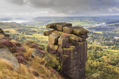 Curbar Edge, Summer Heather, View Towards Chatsworth, Peak District National Park, Derbyshire-Eleanor Scriven-Photographic Print