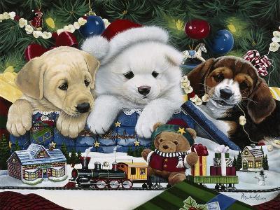 Curious Christmas Pups-Jenny Newland-Giclee Print