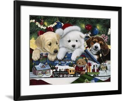 Curious Christmas Pups-Jenny Newland-Framed Giclee Print