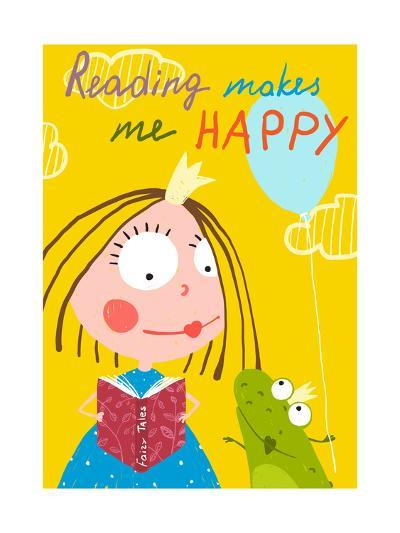 Curious Funny Little Girl Reading Fairy Tale Book to a Frog. Colorful Drawing for Children Holiday-Popmarleo-Art Print