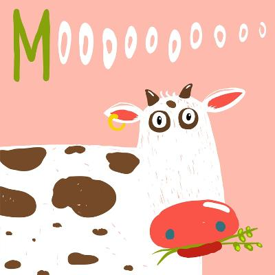Curious Stupid Cow Eating Grass with Vacant Look. Fun Colorful Baby Animal Illustration of a Cattle-Popmarleo-Art Print