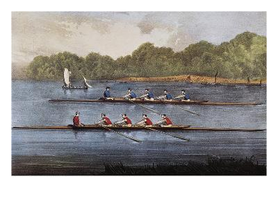 Currier and Ives: Rowing Contest-Currier & Ives-Giclee Print