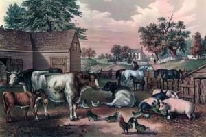 American Farm Yard in the Evening, 1857 by Currier & Ives