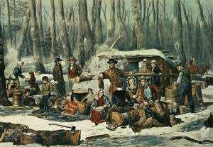 American Forest Scene, Maple Sugaring, 1856 by Currier & Ives
