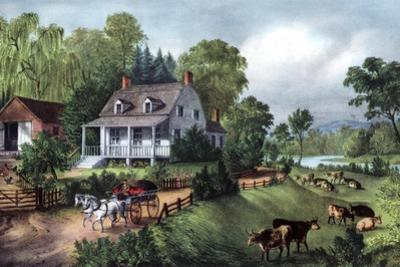American Homestead in Summer, 1868 by Currier & Ives