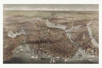 Birds Eye View of the City of Boston, Circa 1873, USA, America