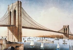 Brooklyn Bridge, NYC, 1881 by Currier & Ives