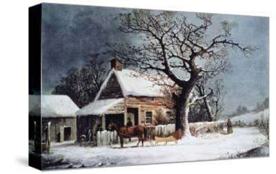 Country Cabin in an American Winter Scene