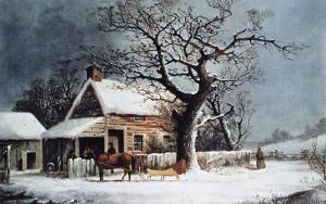 Country Cabin in an American Winter Scene by Currier & Ives