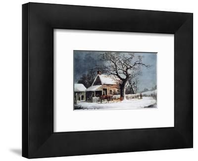 Country Cabin in an American Winter Scene