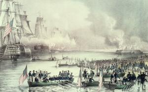 Landing of the American Force at Vera Cruz, Under General Scott, March, 1847 by Currier & Ives
