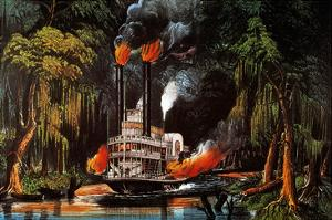 Louisiana: Steamboat, 1865 by Currier & Ives