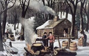 Maple Sugaring by Currier & Ives