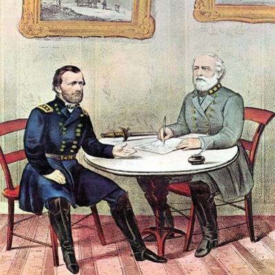 Meeting of Generals Grant (Lef) and Lee, American Civil War, 1865