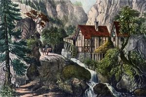 Old Swiss Mill, 1872 by Currier & Ives