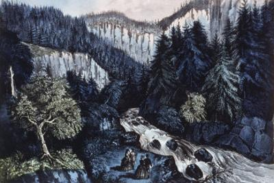 Source of the Hudson, the Indian Pass through the Adirondacks by Currier & Ives