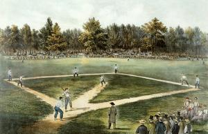The American National Game of Baseball - Grand Match at Elysian Fields, Hoboken, Nj, 1866 by Currier & Ives