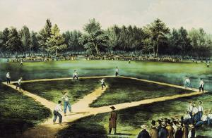 The American National Game of Baseball by Currier & Ives