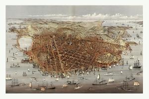 The City of San Francisco. Birds Eye View from the Bay Looking South-West, Circa 1878, USA, America by Currier & Ives