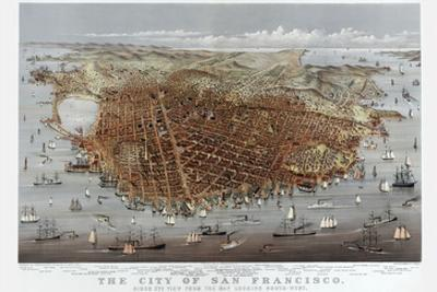 The City of San Francisco. Birds Eye View from the Bay Looking South-West