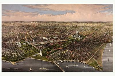 The City of Washington Birds Eye View from the Potomac, Looking North, Circa 1880, USA, America
