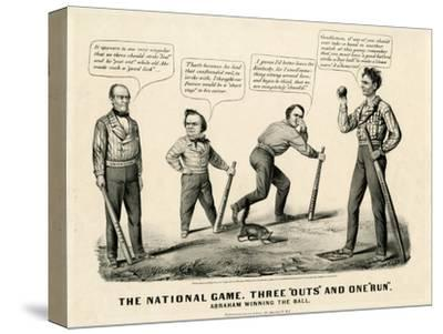 The National Game: Three Outs and One Run, Abraham Winning the Ball, 1860
