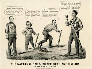 The National Game: Three Outs and One Run, Abraham Winning the Ball, 1860 by Currier & Ives