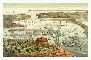 The Port of New York, Birds Eye View from the Battery, Looking South, Circa 1892, USA, America by Currier & Ives