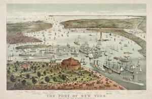 The Port of New York - Birds Eye View from the Battery, Looking South by Currier & Ives