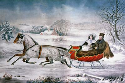 The Road-Winter, 1853 by Currier & Ives