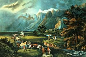 The Rocky Mountains: Emigrants Crossing the Plains, 1866 by Currier & Ives