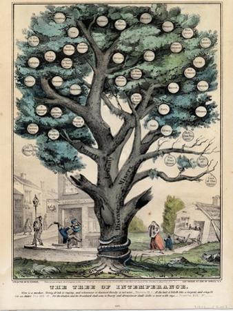 The Tree of Intemperance, Published by N. Currier, New York, 1849