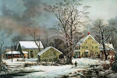 Winter in the Country - a Cold Morning, New England by Currier & Ives