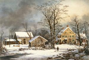 Winter in the Country a Cold Morning by Currier & Ives