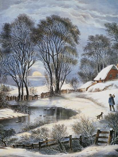 Currier & Ives: Winter Moonlight-Currier & Ives-Giclee Print