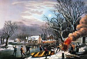Winter Scene: Evening 1854 by Currier & Ives