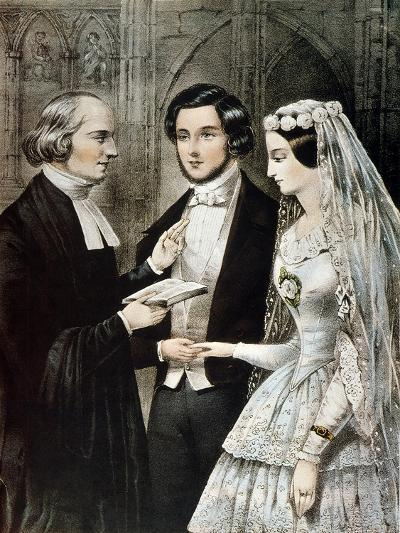 Currier: The Marriage-Currier & Ives-Giclee Print