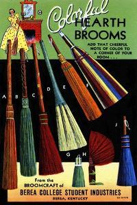 Broomcraft Colorful Hearth Brooms by Curt Teich & Company