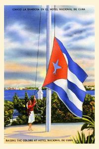 Raising The Colors At The Hotel Nacional De Cuba by Curt Teich & Company
