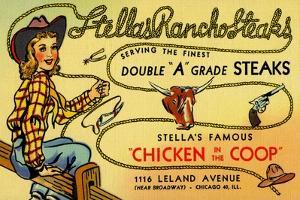 Stellas Ranch O' Steaks by Curt Teich & Company
