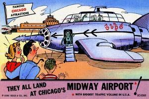 They All Landed At Chicago's Midway Airport by Curt Teich & Company