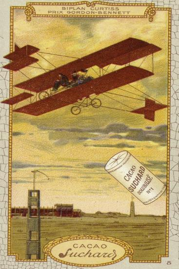 Curtiss Biplane Competing for the Gordon Bennett Trophy--Giclee Print