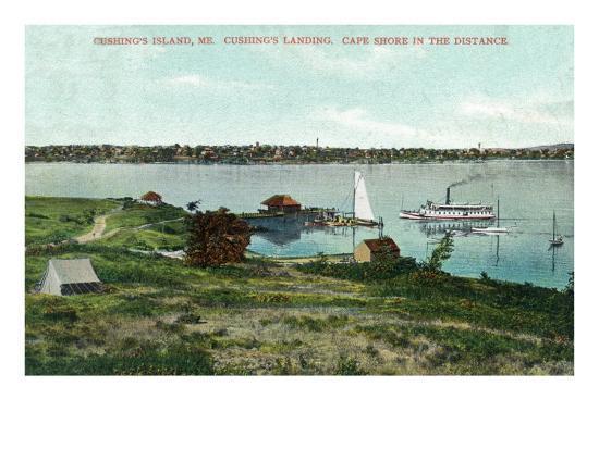 Cushing's Island, Maine, View of Cushing's Landing, Cape Shore in the Distance-Lantern Press-Art Print