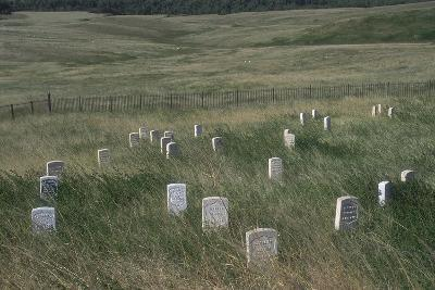 Custer Hill Markers Where 7th Calvary Bodies Were Found after Battle of Little Bighorn, Montana--Photographic Print