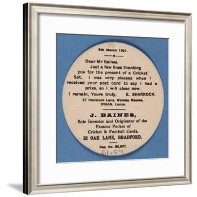 Customer Letter on Reverse of a Baines' Football Card--Framed Giclee Print