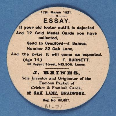 Customer Letter on Reverse of a Baines' Football Card--Giclee Print