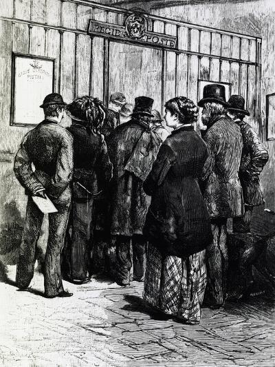 Customers Queued at the Counter of the Post Office, Italy, 19th Century--Giclee Print