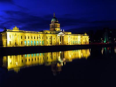 Customs House in Dublin Lit Up at Night-Chris Hill-Photographic Print